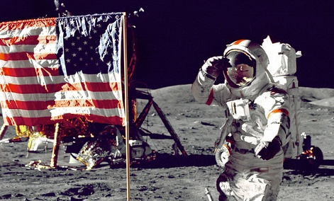 Eugene A. Cernan, Commander, Apollo 17 salutes the flag on the lunar surface during extravehicular activity on NASA's final lunar landing mission.