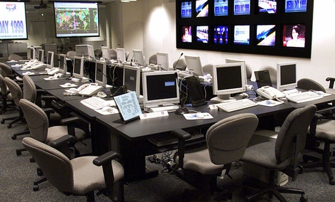 The White House's Y2K crisis center is shown during a media tour Monday Nov. 15, 1999, in Washington. The federal government offered the first public glimpse Monday at its new $50 million Y2K center, a high-tech crisis room near the White House. At the sa