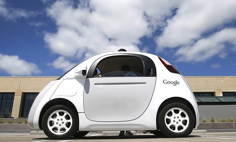 Google's new self-driving prototype car is presented during a demonstration at the Google campus in Mountain View, Calif.