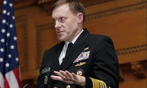 National Security Agency director Mike Rogers speaks at Stanford University, Monday, Nov. 3, 2014, in Stanford, Calif. Rogers told professors and students that U.S. intelligence is depending on Silicon Valley innovation for technologies that strengthen th