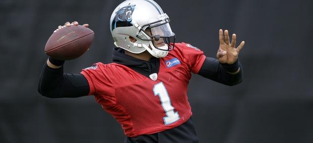Carolina Panthers quarterback Cam Newton (1) during practice Wednesday, Feb. 3, 2016 in San Jose, Calif.
