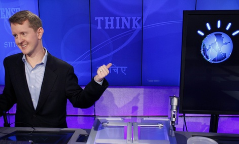 """Jeopardy!"" contest Ken Jennings, who won a record 74 consecutive games, refers to his opponent, an IBM's Watson"
