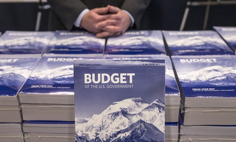 Copies of President Barack Obama's fiscal 2017 federal budget are displayed by the Senate Budget Committee, Tuesday, Feb. 9, 2016.