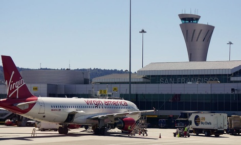 The new airport traffic control tower at the San Francisco International Airport (SFO).