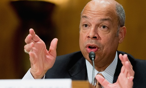 Homeland Security Secretary Jeh Johnson testifies on Capitol Hill in Washington, Tuesday, March 8, 2016.