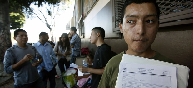 Illegal immigrant Layios Roberto waits outside the offices of Coalition for Humane Immigrant Rights in Los Angeles.