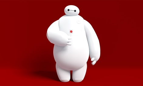 The character Baymax, from the Disney film Big Hero 6, is a soft and cuddly robot designed to help people.
