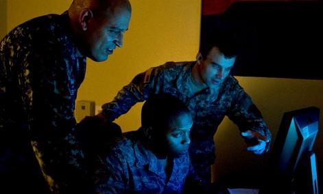U.S. Navy Petty Officer 1st Class Joel Melendez, Naval Network Warfare Command information systems analysis, U.S. Air Force Staff Sgt. Rogerick Montgomery, U.S. Cyber Command network analysis, and U.S. Army Staff Sgt. Jacob Harding, 780th Military Intelli