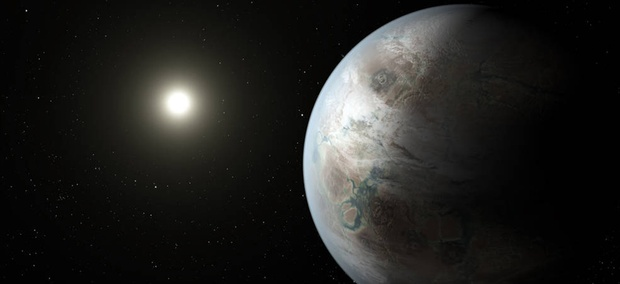 This world is the first Earth-sized planet found in the habitable zone of a sun-like star. The planet is 60 percent larger than Earth and 5 percent farther from its parent star than Earth is from the sun.