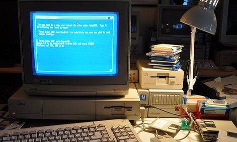 The first-ever ransomware virus infected computers like this 1980s-era Amiga 1000.