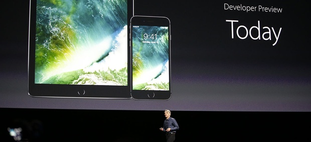 Craig Federighi, Apple senior vice president of software engineering, speaks about the new iOS 10 at the Apple Worldwide Developers Conference.