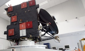 A model of the Rosetta comet spacecraft is pictured at the Space Operations Centre of the European Space Agency in Darmstadt, Germany