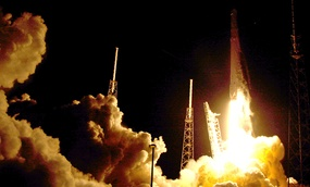 The Falcon 9 SpaceX rocket lifts off from launch complex 40 at the Cape Canaveral Air Force Station in Cape Canaveral, Fla., Monday, July 18.