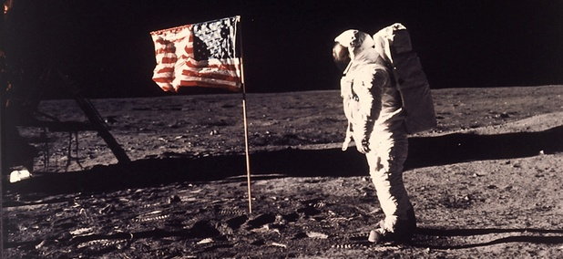 Astronaut Buzz Aldrin poses for a photograph beside the U.S. flag deployed on the moon during the Apollo 11 mission on July 20, 1969.