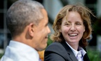 President Barack Obama talks with Megan Smith, U.S. Chief Technology Officer, and Dr. John Holdren, Director of the Office of Science and Technology Policy, during a technology strategy discussion in the Rose Garden of the White House, Oct. 8, 2014.