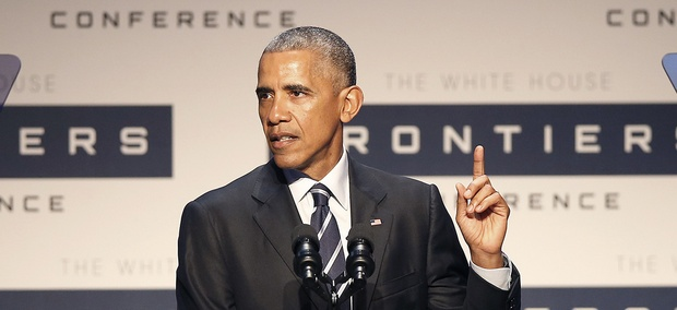 President Barack Obama speaks at the White House Frontiers Conference at Carnegie Mellon University.