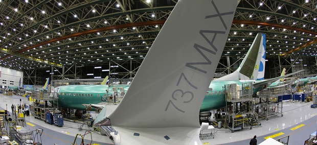 The distinctive winglet on the second Boeing 737 MAX airplane being built is shown on the assembly line in Renton, Wash. On Thursday, March 3, 2016