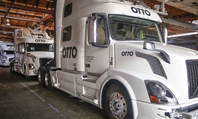 Otto's self-driving, big-rig trucks are lined up during a demonstration at the Otto headquarters on Thursday, Aug. 18, 2016, in San Francisco.