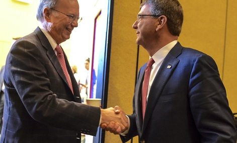 Defense Secretary Ash Carter meets with Eric Schmidt, executive chairman of Google parent company Alphabet and new chairman of the first DoD Innovation Advisory Board.