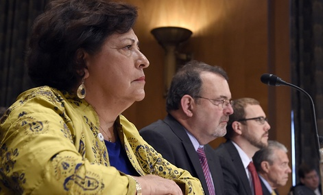 Witnesses including former OPM Director Katherine Archuleta and federal CIO Tony Scott sit before the Senate hearing on federal Cybersecurity and the OPM Data Breach.