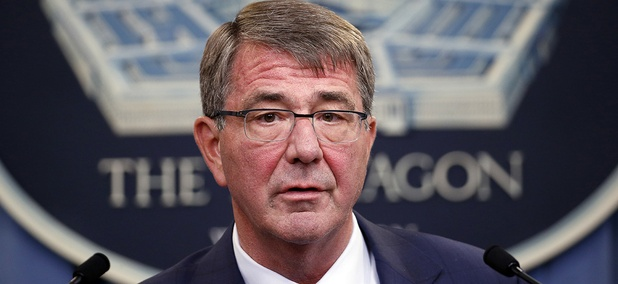 Defense Secretary Ash Carter speaks during a news conference at the Pentagon.