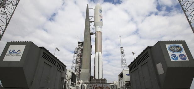 A ULA Atlas V rocket arrives at Space Launch Complex 41 at Cape Canaveral Air Force Station in Florida. The launch vehicle will send NOAA's Geostationary Operational Environmental Satellite (GOES-R) into orbit.