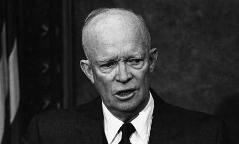 President Dwight Eisenhower speaks during a news conference in Washington in 1958.
