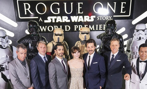The cast of Rogue One: A Star Wars Story at the World Premiere at The Pantages Theatre on Saturday, Dec. 10, 2016.