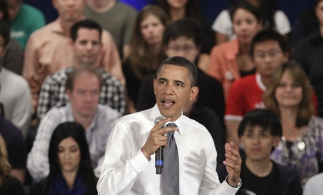 President Barack Obama addresses the crowd during a town hall meeting at Facebook headquarters in Palo Alto, Calif., Wednesday, April 20, 2011.