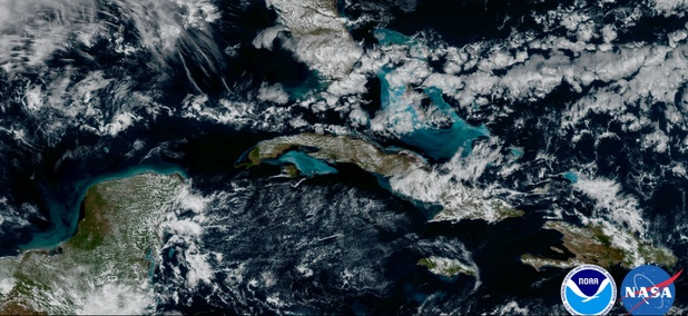 NOAA's GOES-16 satellite captured this image of the Caribbean and Florida.