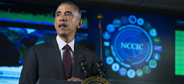 Former president Barack Obama speaks at the National Cybersecurity and Communications Integration Center in Arlington, Va.