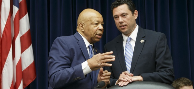 House Oversight and Government Reform Committee Chairman Rep. Jason Chaffetz, R-Utah, right, confers with the committee's ranking member Rep. Elijah Cummings, D-Md. on Capitol Hill in Washington.