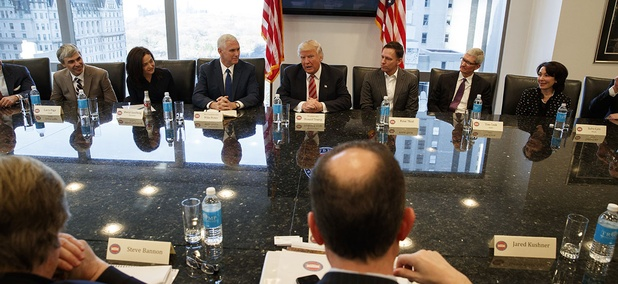 Then president-elect Donald Trump speaks during a meeting with technology industry leaders at Trump Tower in New York, Wednesday, Dec. 14, 2016.