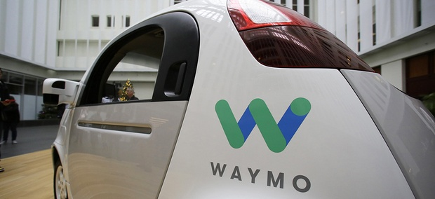 The Waymo driverless car is displayed during a Google event, Tuesday, Dec. 13, 2016, in San Francisco.