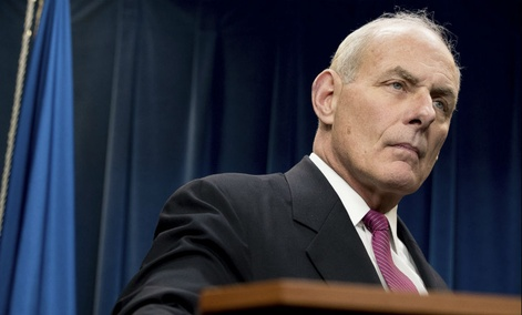 Homeland Security Secretary John Kelly pauses while speaking at a news conference at the U.S. Customs and Border Protection headquarters in Washington, Jan. 31.