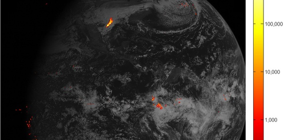 This image shows lightning data captured on February 14, 2017 over the course of an hour and displayed over an image of the Western Hemisphere from the Advanced Baseline Imager on GOES-16.