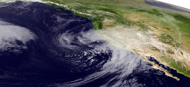 This Feb. 17, 2017 satellite image released by NOAA shows a powerful storm beginning to move into California.