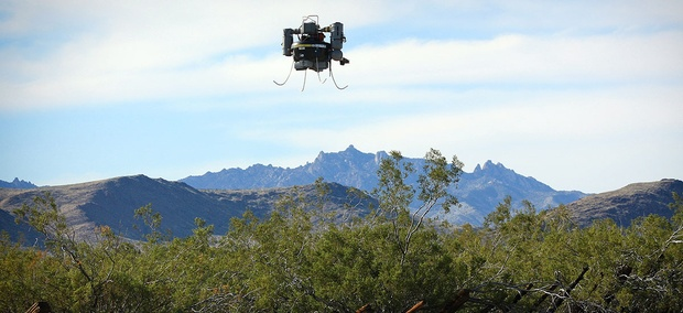 A U.S. Geological Survey THawk drone being used during a survey of abandoned solid waste in the Mojave Preserve on Wednesday, April 3, 2013.