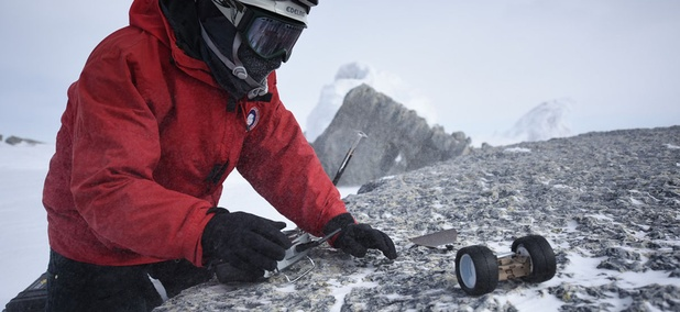PUFFER was outfitted for field testing in snow during a recent trip to Antarctica's Mt. Erebus.
