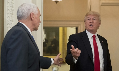 Vice President Mike Pence, left, and President Donald Trump in the Oval Office of the White House, in Washington, March 31, 2017