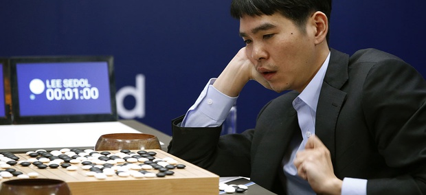 South Korean professional Go player Lee Sedol reviews the match after winning the fourth match of the Google DeepMind Challenge.