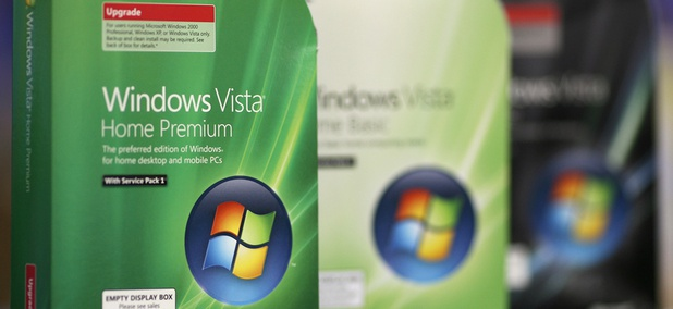 Three versions of Microsoft's Windows Vista operating system are photographed on shelf of a Best Buy store in Seekonk, Mass., Saturday, Aug. 16, 2008.