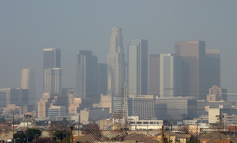 A view of downtown Los Angeles, California covered in smog.