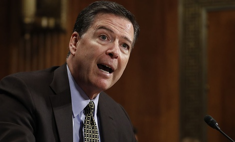 FBI Director James Comey testifies on Capitol Hill.