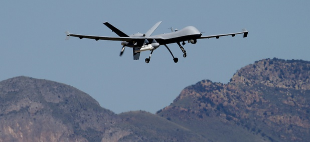A U.S. Customs and Border Patrol drone aircraft lifts off at Ft. Huachuca in Sierra Vista, Ariz.