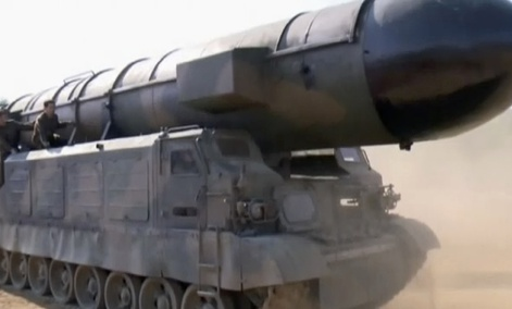 This image made from video of a news bulletin aired by North Korea's KRT on May 22, 2017, shows what was said to be the Pukguksong-2 missile at an undisclosed location in North Korea.