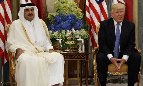 U.S. President Donald Trump, right, holds a bilateral meeting with Qatar's Emir Sheikh Tamim Bin Hamad Al-Thani, in Riyadh, Saudi Arabia.