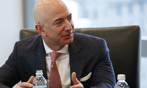 Amazon founder Jeff Bezos speaks during a meeting with President-elect Donald Trump and technology industry leaders at Trump Tower in New York, Dec. 14, 2016.