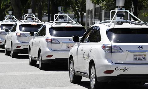 A row of Google self-driving Lexus cars in Mountain View, California.