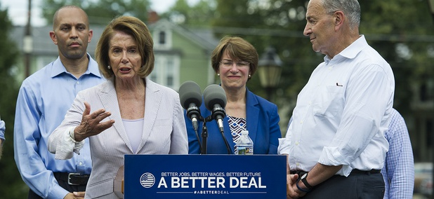 House Minority Leader Nancy Pelosi of Calif., joined by, from left, Rep. Hakeem Jeffries, D-N.Y., Sen. Amy Klobuchar, D-Minn. and Senate Minority Leader Chuck Schumer, N.Y. speaks in Berryville, Va., July 24, 2017, to unveil the Democrats new agenda.